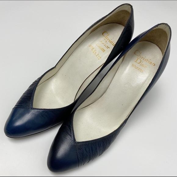 Christian Dior Vintage Blue Leather Heels Size 35